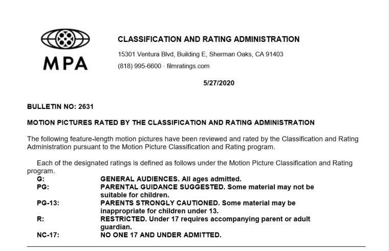 CARA/MPA Film Ratings BULLETIN For 05/27/20; MPA Ratings & Rating Reasons For 'Retaliation' & More 7