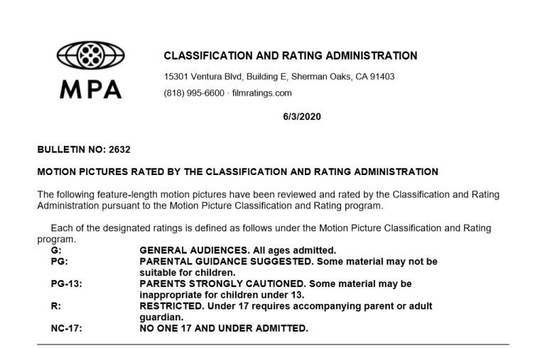 CARA/MPA Film Ratings BULLETIN For 06/03/20; MPA Ratings & Rating Reasons For 'Godzilla vs. Kong', 'Synchronic', 'Most Wanted' & More 8