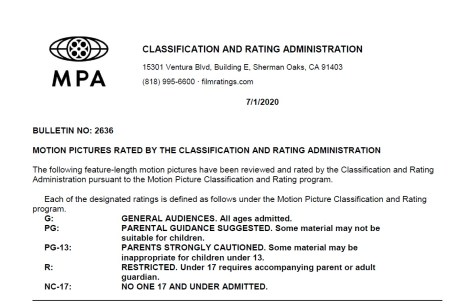 CARA/MPA Film Ratings BULLETIN For 07/01/20; MPA Ratings & Rating Reasons For 'Bill & Ted Face The Music', 'Minions: The Rise Of Gru', 'Nobody' & More 1
