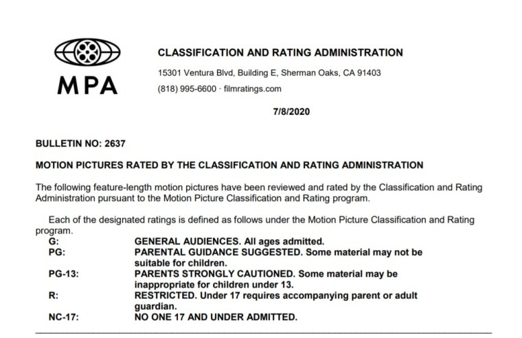 CARA/MPA Film Ratings BULLETIN For 07/08/20; MPA Ratings & Rating Reasons For 'We Can Be Heroes', 'The One And Only Ivan' & More 7
