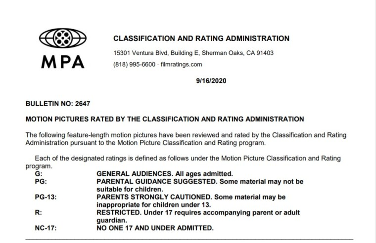 CARA/MPA Film Ratings BULLETIN For 09/16/20; MPA Ratings & Rating Reasons For 'Connected', 'Freaky', 'Happiest Season' & More 4