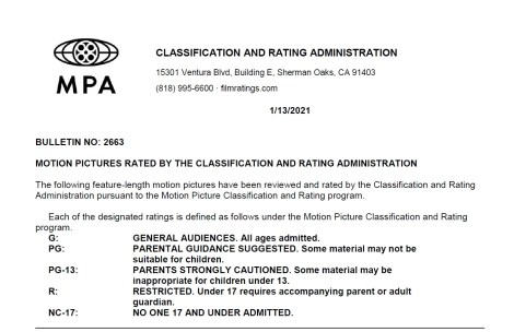 CARA/MPA Film Ratings BULLETIN For 01/13/21; MPA Ratings & Rating Reasons For 'The Boss Baby: Family Business', 'Body Brokers' & More 1