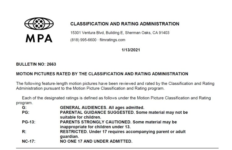 CARA/MPA Film Ratings BULLETIN For 01/13/21; MPA Ratings & Rating Reasons For 'The Boss Baby: Family Business', 'Body Brokers' & More 6