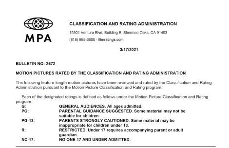 CARA/MPA Film Ratings BULLETIN For 03/17/21; MPA Ratings & Rating Reasons For 'Cruella', 'In The Earth' & More 2