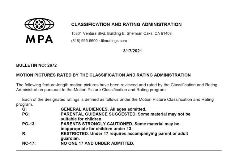 CARA/MPA Film Ratings BULLETIN For 03/17/21; MPA Ratings & Rating Reasons For 'Cruella', 'In The Earth' & More 8