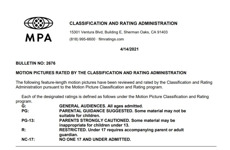 CARA/MPA Film Ratings BULLETIN For 04/14/21; MPA Ratings & Rating Reasons For 'Texas Chainsaw Massacre', 'Rocky IV: 35th Anniversary Director's Cut' & More 9