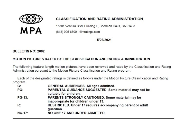 CARA/MPA Film Ratings BULLETIN For 05/26/21; MPA Ratings & Rating Reasons For 'Infinite', 'The Birthday Cake' & More 8