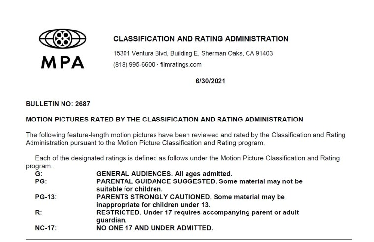 CARA/MPA Film Ratings BULLETIN For 06/30/21; MPA Ratings & Rating Reasons For 'Joe Bell', 'Zone 414' & More 8