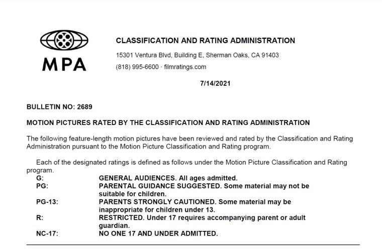 CARA/MPA Film Ratings BULLETIN For 07/14/21; MPA Ratings & Rating Reasons For 'Queenpins', 'Demonic' & More 8