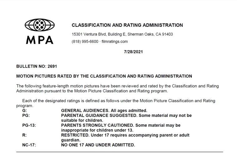 CARA/MPA Film Ratings BULLETIN For 07/28/21; MPA Ratings & Rating Reasons For 'Top Gun: Maverick', 'Morbius' & More 7