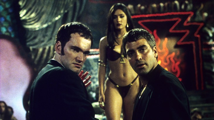 From Dusk Till Dawn (1996)<br /> Directed by Robert Rodriguez<br /> Shown from left: Quentin Tarantino, George Clooney