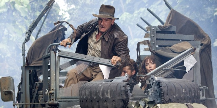 Indiana Jones and the Kingdom of the Crystal Skull (2008)<br /> Directed by Steven Spielberg<br /> Shown from left: Harrison Ford, Shia LaBeouf, Karen Allen