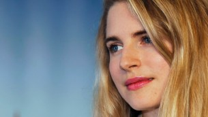 U.S actress Brit Marling poses for a photocall after the screening of her film