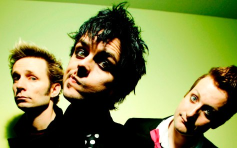 UNITED KINGDOM - JANUARY 01:  Photo of Billie Joe ARMSTRONG and GREEN DAY and Tre COOL and Mike DIRNT; L-R. Mike Dirnt, Billie Joe Armstrong, Tre Cool  (Photo by Nigel Crane/Redferns)