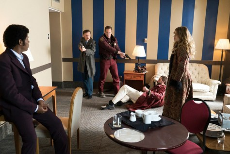 FARGO -- ÒDid You Do This? No, you did it!Ó -- Episode 207 (Airs Monday, November 23, 10:00 pm e/p) Pictured: (l-r) Bokeem Woodbine as Mike Milligan, Keir O'Donnell as Ben Schmidt, Patrick Wilson as Lou Solverson, Brad Mann as Gale Kitchen, Rachel Keller as Simone. CR: Chris Large/FX