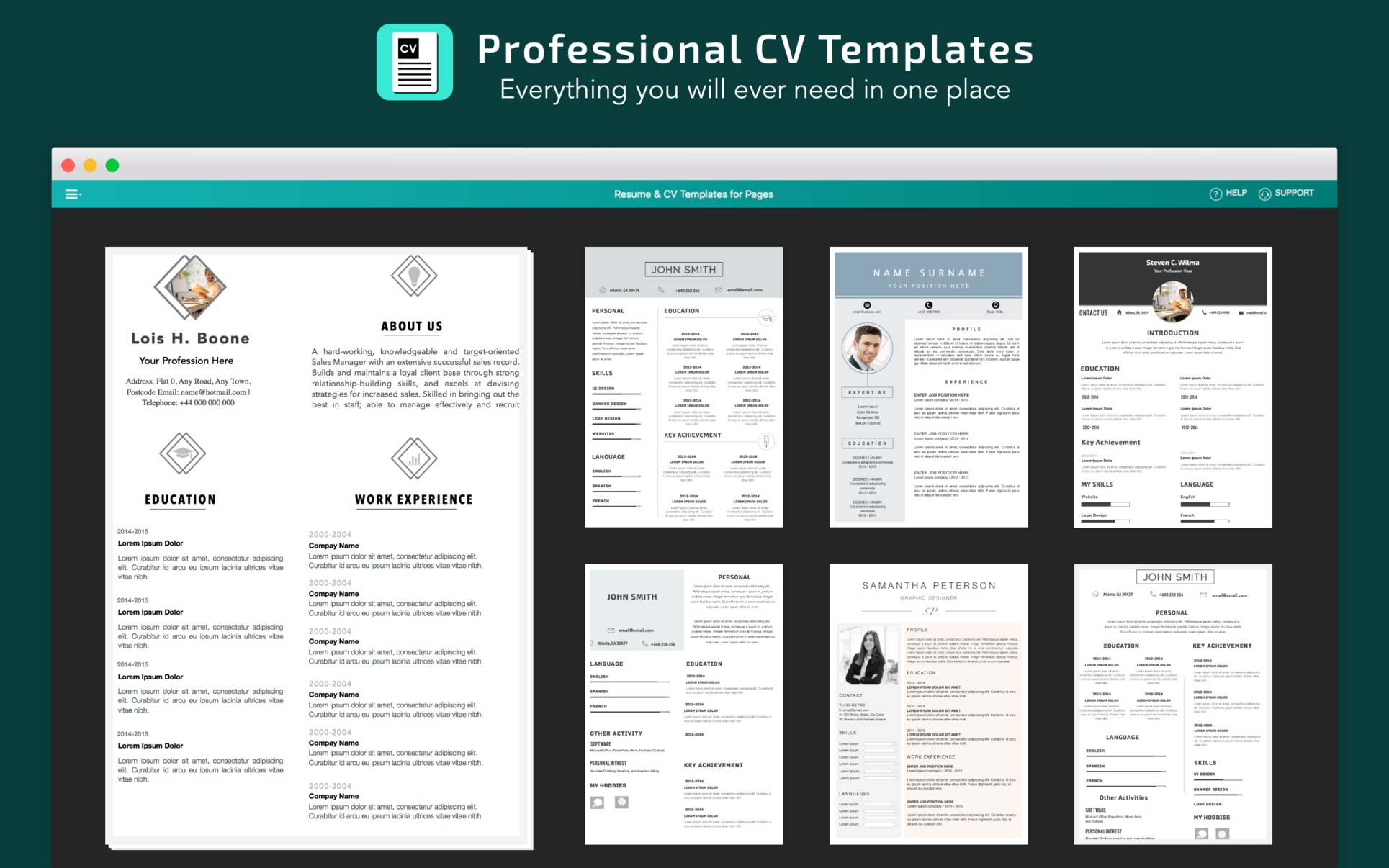 Resume Templates For Mac Pages Resume Cv Templates For Pages 4 Purchase For Mac