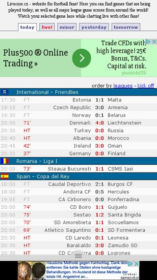 Livescore Cz Yesterday Football Results