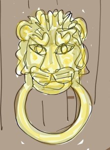 Door knocker on Scrooge's door that turns into Marley's face.