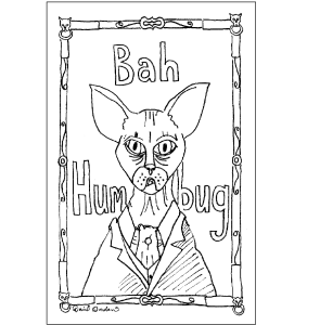 Scrooge as a hairless cat greeting cards