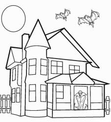 haunted coloring drawing printable pages halloween colouring sheets inside simple cool2bkids mansion houses castle easy sketch step spooky template dracula