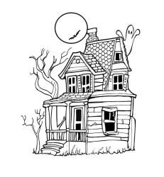 haunted coloring pages printable simple drawing halloween print scribblefun awesome paintingvalley entitlementtrap