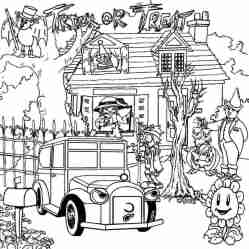 coloring haunted trick treat pages halloween printable scribblefun