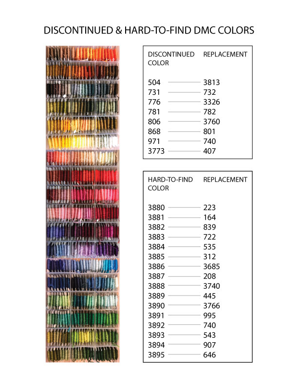 photo regarding Free Printable Dmc Color Chart titled Discontinued DMC Hues Their Replacements Chart