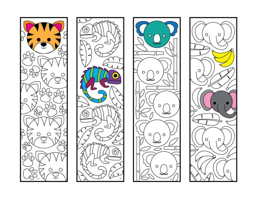 Six Adorable Animal Bookmarks Printable Coloring Pages
