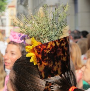 Hair decorations for El Rocio are more rustic than for the Feria - a sprig of rosemary with wildflowers, and a sunflower (currently flowering all over Andalucia).