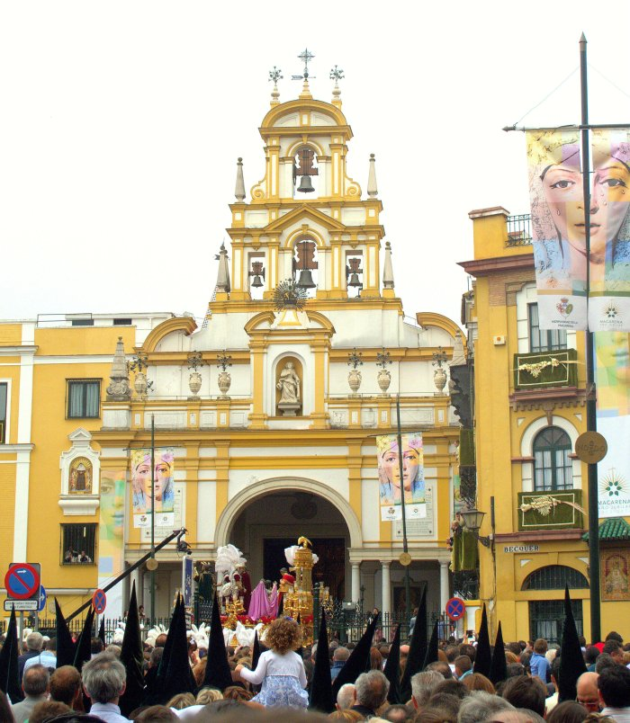 The Macarena Gate, seen here during the Semana Santa procession of the local brotherhood.