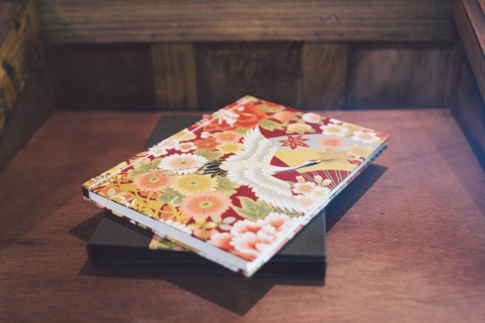 Hand-bound notebooks covered with Japanese fabrics.
