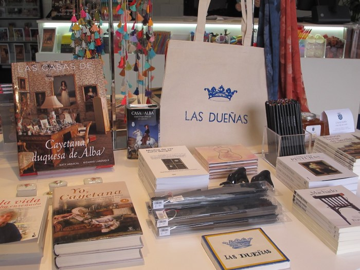 The shop has books about the Duchess, as well as books with the elegant logo.