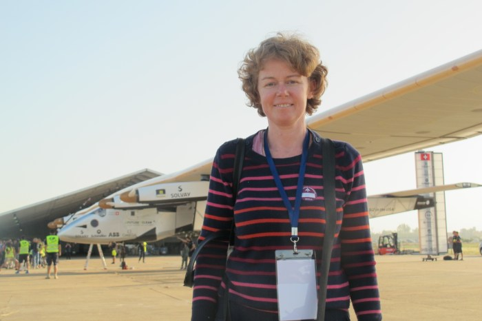 Your blogger with Si2 - the hangar is behind the plane.