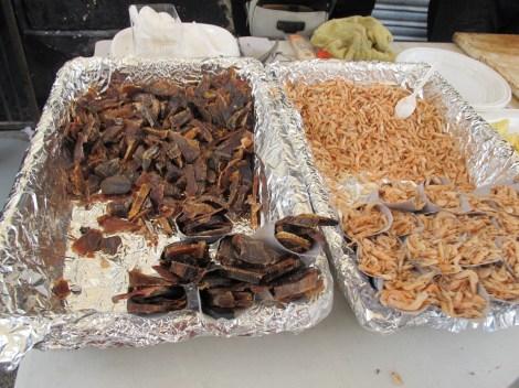 Mojama (dried tuna) and camarones - typical Cadiz fare.