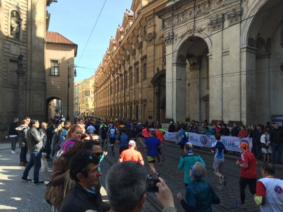 Marathon runners in Prague