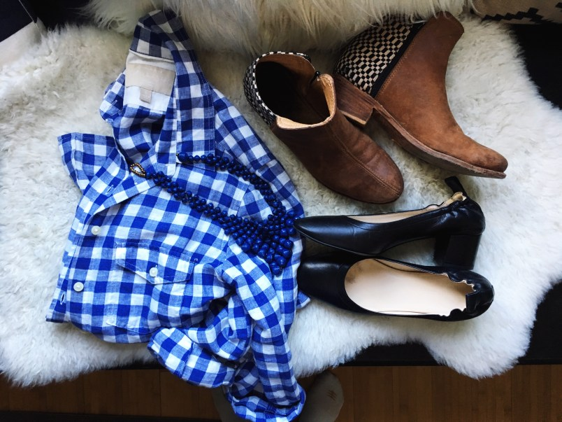 ethical shirt, jewelry, boots and heels