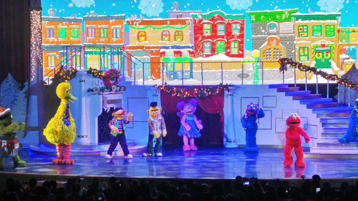 Sesame Street show and dance during the Bah Humbug performance.