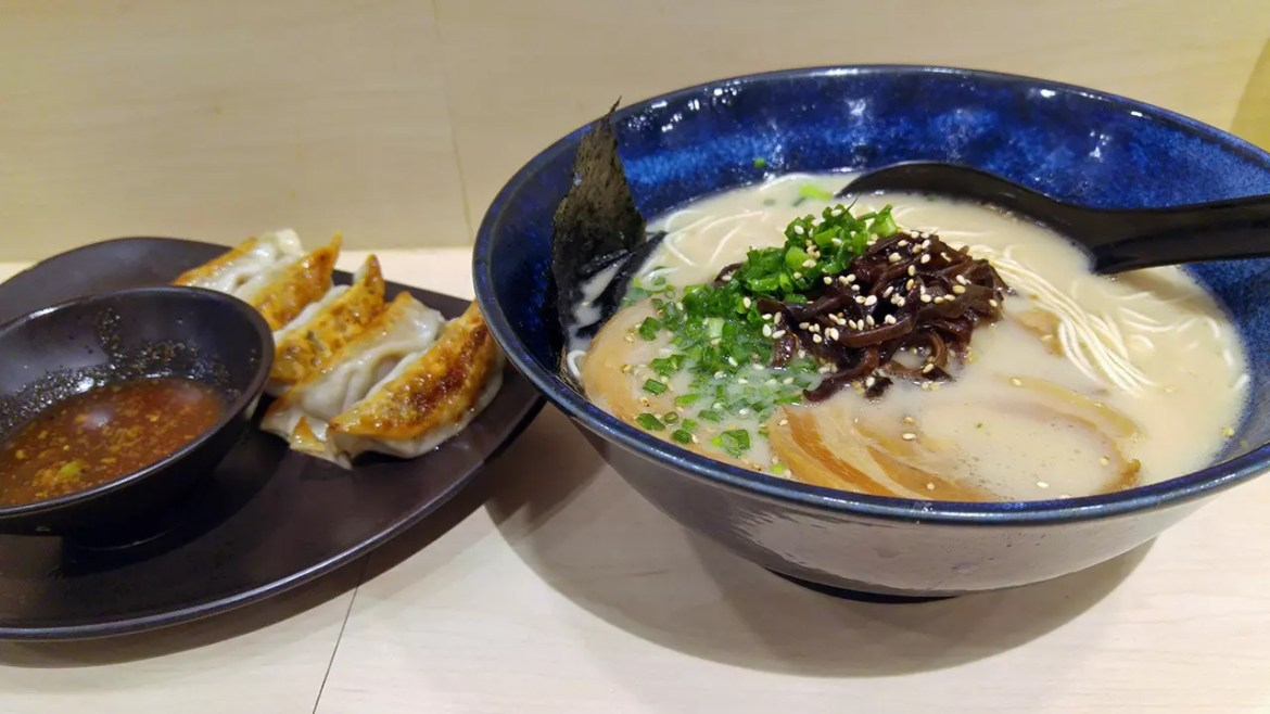 Tonkotsu Ramen Dinner at Kanshoku Ramen Bar, with pork gyoza on the side.
