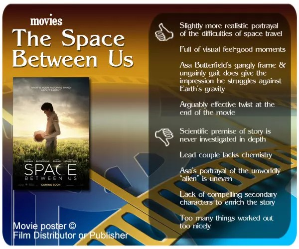 The Space Between Us is a classic young adult romance with an unusual setting. Its main failure is its hesitation to exploit the potency of its premise.