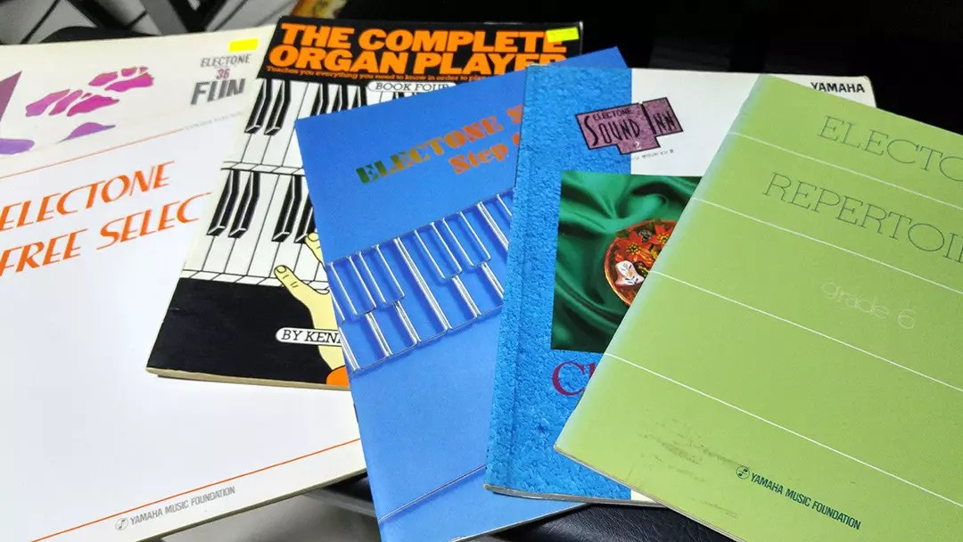 My collection of old Yamaha Electone books and other albums meant for the electric organ.