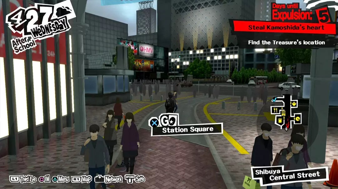 Persona 5 Screenshots: Shibuya Central Street