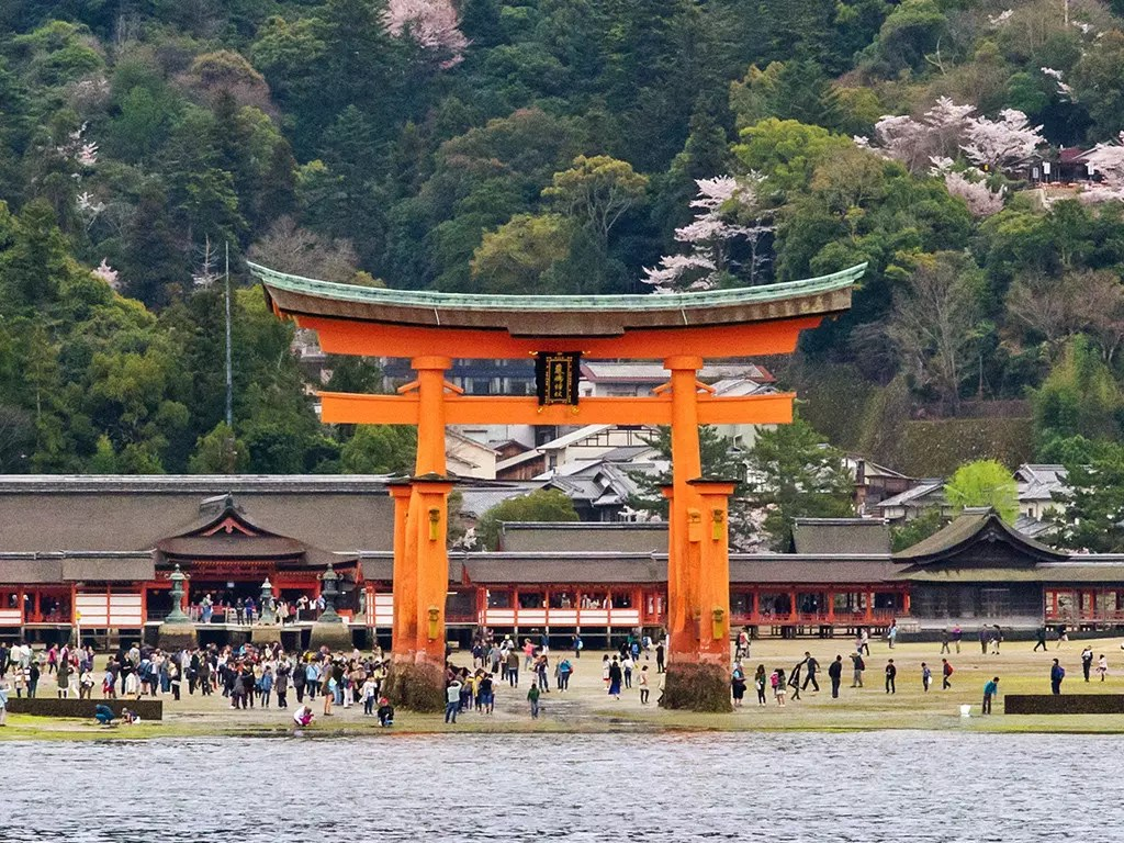The Great Torii of Miyajima at low tide.