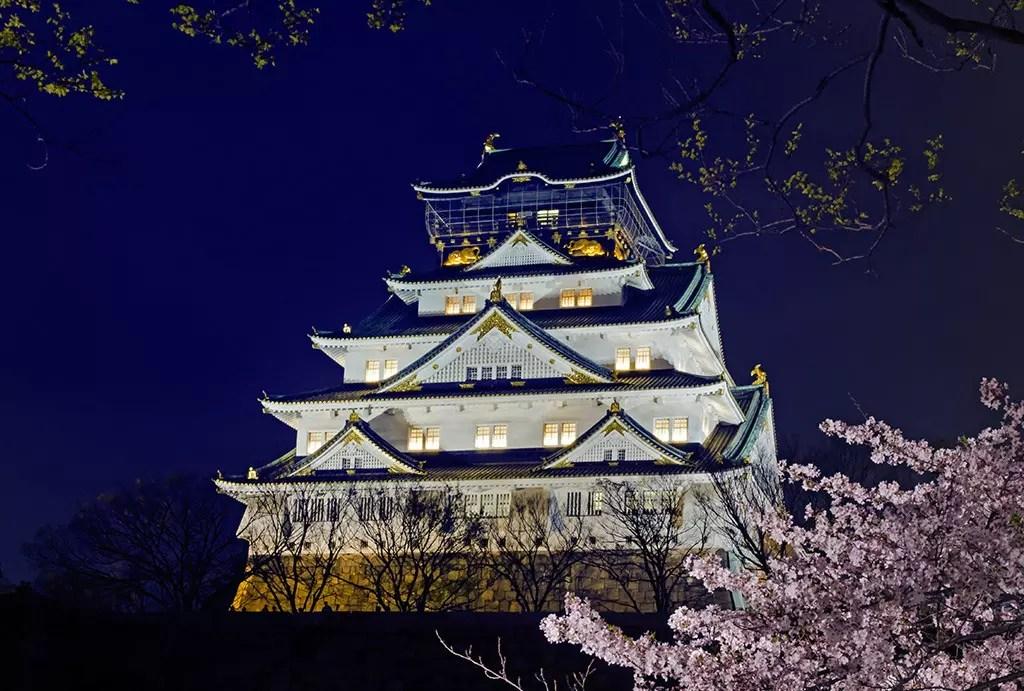 Osaka Castle at night during Cherry Blossom season.