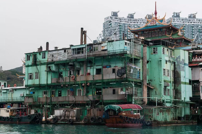 Derelict pier building in Aberdeen, Hong Kong.
