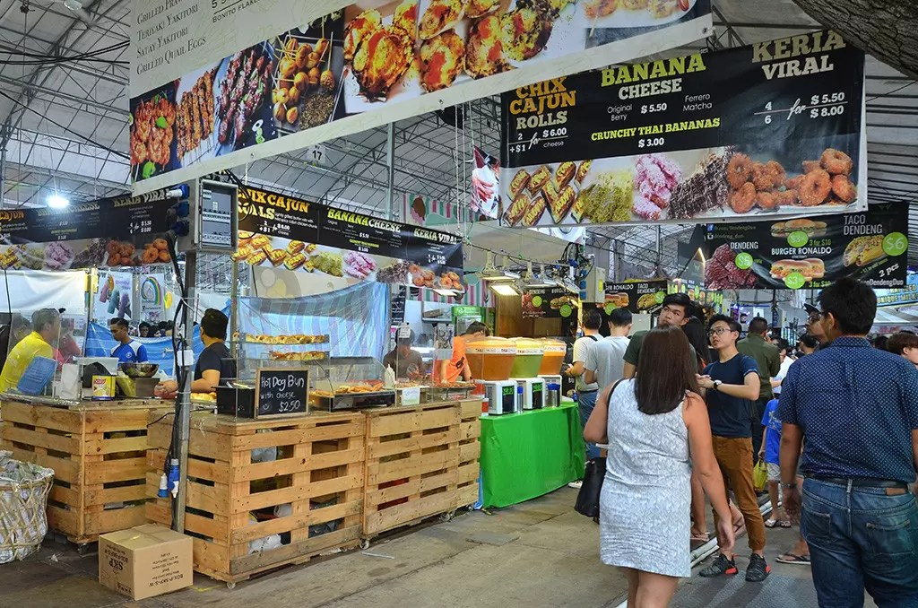 Geylang Serai Bazaar 2017 cooked food section.