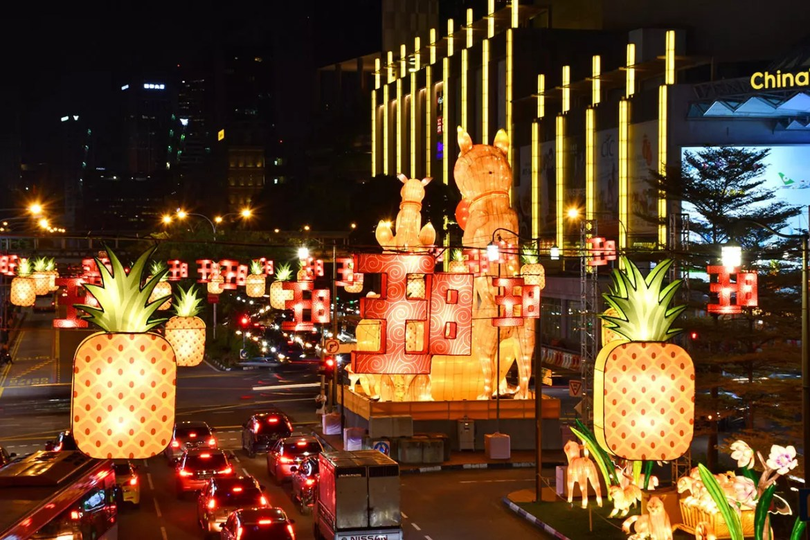 Chinatown Chinese New Year Light-up 2018 street decorations.