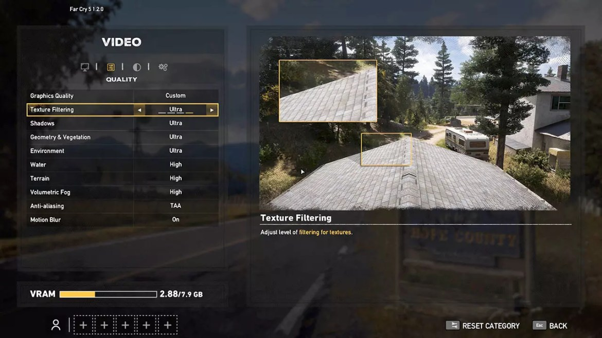 Video and texturing options in Far Cry 5.