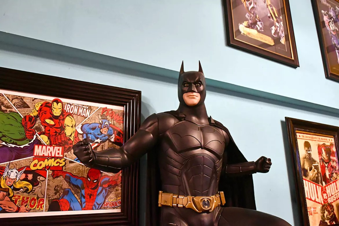 Batman at Hungry Heroes, a superhero-themed restaurant in Singapore.