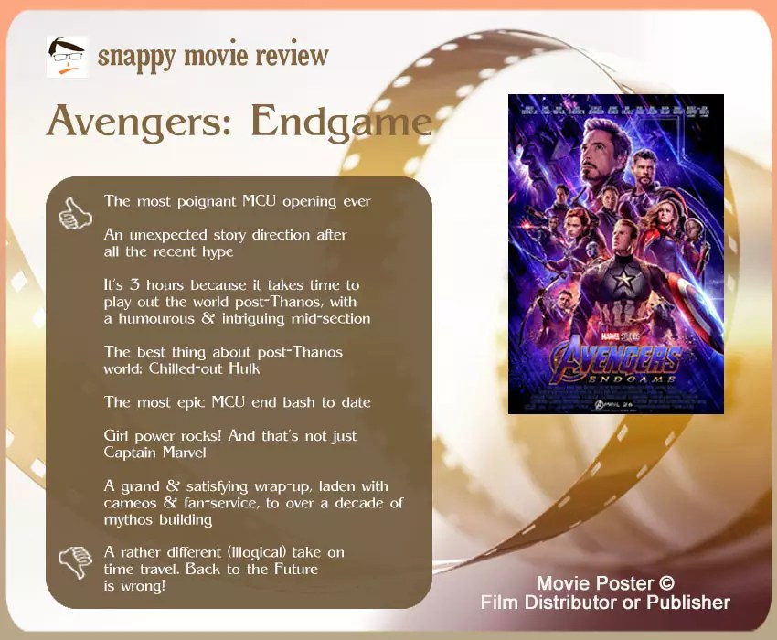 Avengers: Endgame Review: 7 thumbs-up and 1 thumbs-down.