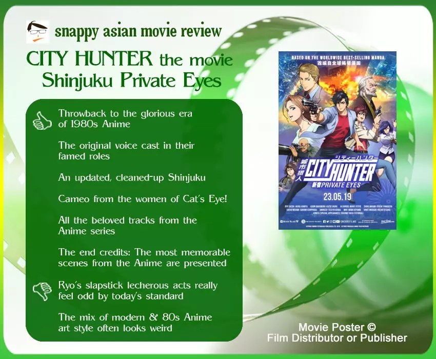 City Hunter the Movie: Shinjuku Private Eyes Review: 6 thumbs-up and 2 thumbs-down.
